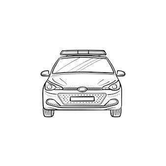 Auto della polizia con l'icona di doodle di contorni disegnati a mano sirena