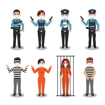 La polizia cattura i criminali che indossano una maschera