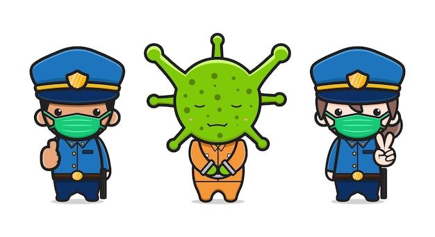 La polizia ha catturato l'illustrazione di vettore dell'icona del fumetto del virus. design piatto isolato in stile cartone animato isolated