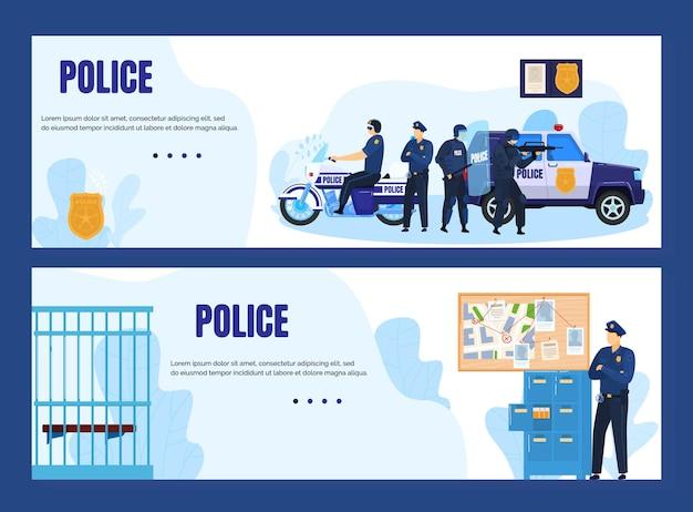 Concetto di polizia con gli ufficiali e l'illustrazione delle bandiere della stazione di polizia.