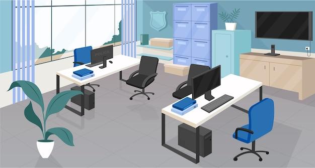 Colore piatto del dipartimento di polizia. ufficio open space, centro di coworking design interno del fumetto 2d con mobili sullo sfondo. agenzia di sicurezza, arredamento dello spazio di lavoro aziendale vuoto