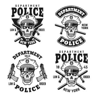 Set di emblemi vettoriali, distintivi, etichette o magliette del dipartimento di polizia con teschio di poliziotto in cappello isolato su sfondo bianco