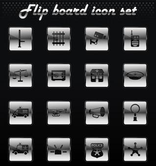 Icone meccaniche di vibrazione di vettore del dipartimento di polizia per il design dell'interfaccia utente
