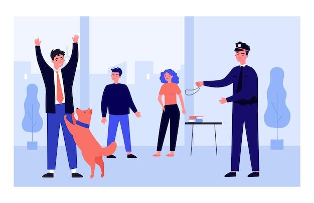 Cane poliziotto che attacca un criminale spaventato ufficiale, fuorilegge, arresto illustrazione vettoriale piatta. concetto di legge e animali per banner, progettazione di siti web o pagina web di destinazione