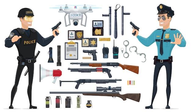 Collezione di elementi di polizia