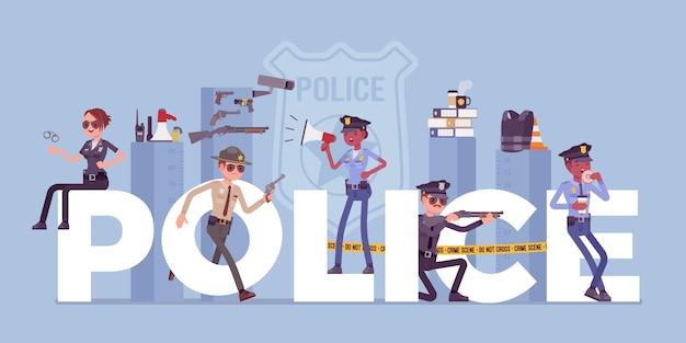 Lettere giganti della polizia con ufficiali uomini e donne