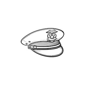 Icona di doodle di contorni disegnati a mano del cappello della polizia