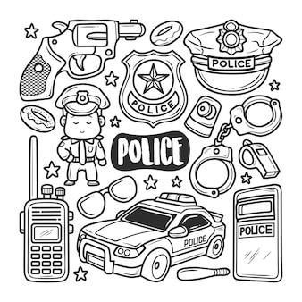Disegni disegnati a mano doodle colorazione icone di polizia