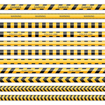 Linee di polizia e non incrociare i nastri. nastri di avvertenza e pericolo in colore giallo e nero. raccolta di segnali di pericolo isolata su priorità bassa bianca. illustrazione vettoriale.