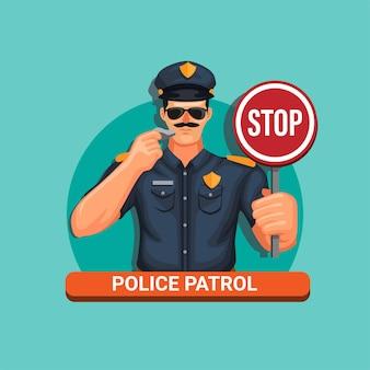 Gesto dell'uomo di polizia e che tiene il segnale di stop
