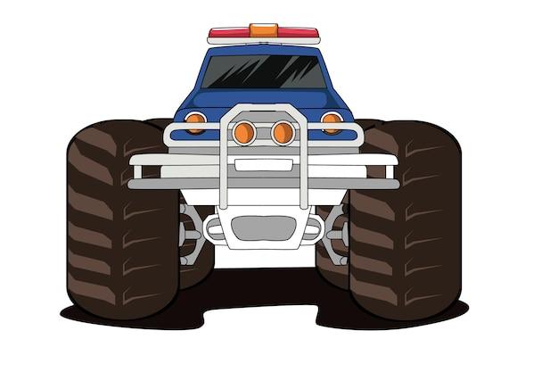 Disegno della mano dell'illustrazione del grande camion del mostro della polizia