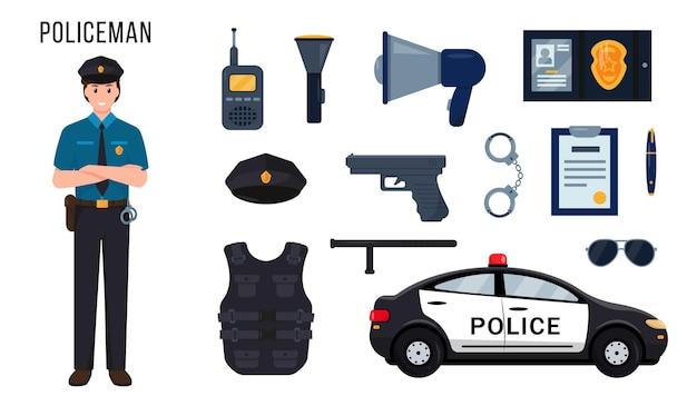Carattere dell'ufficiale di polizia e insieme di elementi per il suo lavoro o attrezzatura