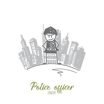 Illustrazione di concetto di ufficiale di polizia