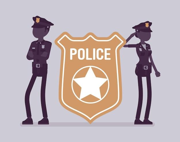 Emblema e poliziotti dell'ufficiale di polizia agenti maschi e femmine in piedi vicino a un distintivo poliziotto luminoso gigante, simbolo di polizia, segno professionale di autorità, servizio. illustrazione vettoriale, personaggi senza volto