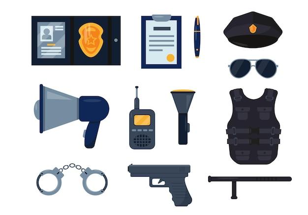 Set di icone dell'attrezzatura dell'ufficiale di polizia