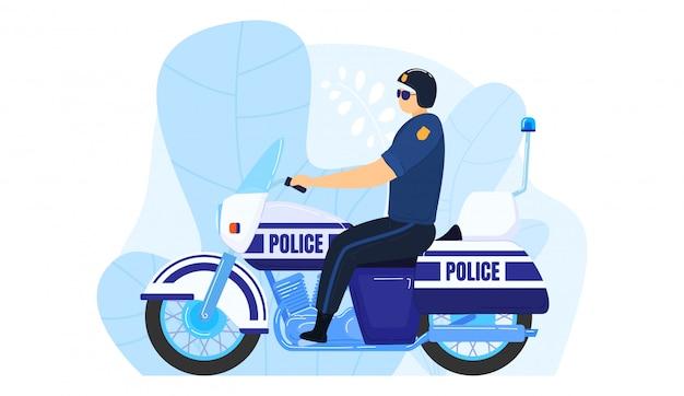 Milizia del lavoro di trasporto della motocicletta dell'ufficiale di polizia, uomo che pattuglia recinto urbano isolato su bianco, illustrazione del fumetto.