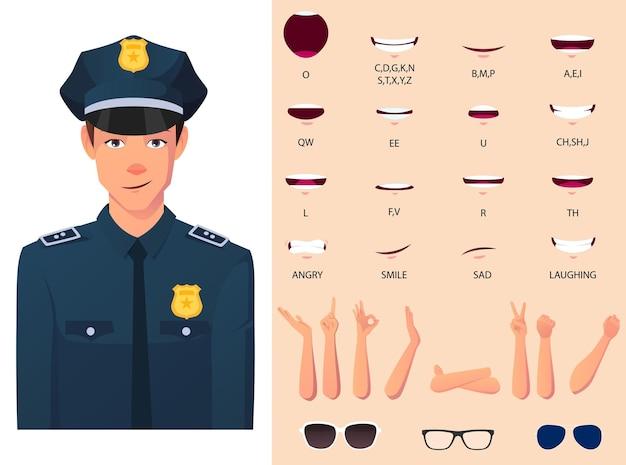 Pacchetto di animazione della bocca dell'ufficiale di polizia con gesti delle mani