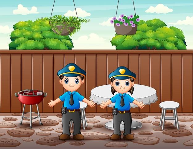 L'ufficiale di polizia nell'illustrazione del ristorante