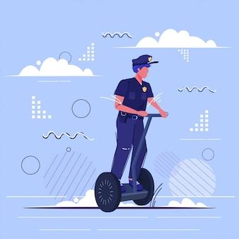 Ufficiale di polizia in sella a un poliziotto di auto bilanciamento di scooter in uniforme con gyroscooter elettrico trasporto personale autorità di sicurezza giustizia giustizia servizio concetto schizzo completo