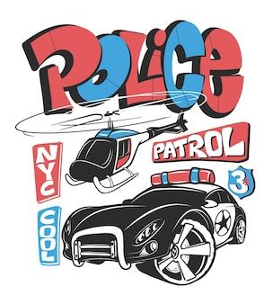 Auto di pattuglia della polizia con elicottero, illustrazione di stampa della camicia.