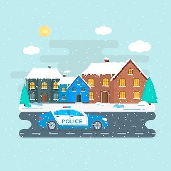 Pattuglia di polizia su una strada con auto della polizia, ufficiale, città, paesaggio naturale. poliziotto in uniforme, veicolo con luci lampeggianti sul tetto. illustrazione vettoriale piatto.