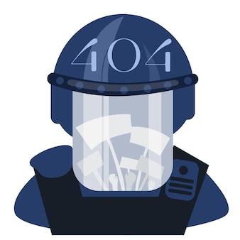 Ufficiale antisommossa della polizia in casco in piedi su sfondo bianco, illustrazione