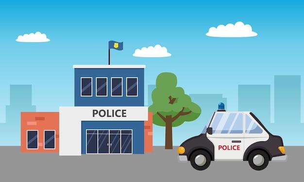 Paesaggio della costruzione della stazione di polizia con auto di pattuglia. design piatto del fumetto