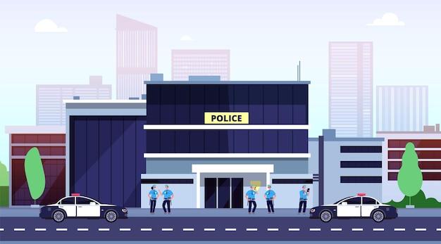 Stazione di polizia. edificio del dipartimento di polizia della città e poliziotti. auto del poliziotto all'esterno di sicurezza dell'ufficio. concetto di vettore delle forze dell'ordine. città della stazione di polizia, illustrazione del dipartimento di costruzione