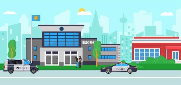 Stazione di polizia all'illustrazione di vettore della via della città edificio piatto con dipartimento di legge sulla sicurezza con po...