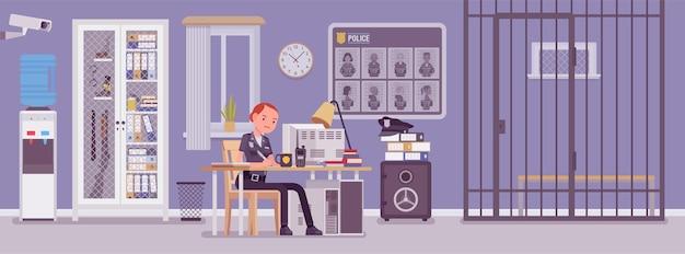Ufficio della stazione di polizia e poliziotta che lavorano