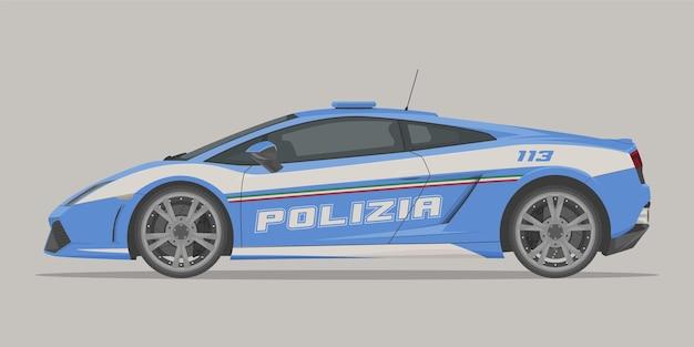Vista laterale della supercar della polizia