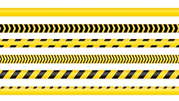 Nastro della polizia, linea di pericolo del crimine. linee di polizia cautela isolate. nastri di avvertimento. set di nastri di avvertenza gialli. illustrazione vettoriale su sfondo bianco.