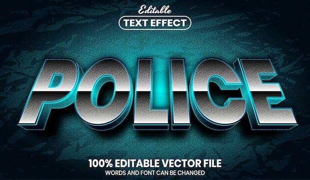 Testo della polizia, effetto testo modificabile in stile carattere