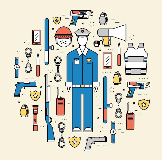 Uniforme della polizia e set di attrezzature per il personale di protezione nell'ufficio dell'armadio
