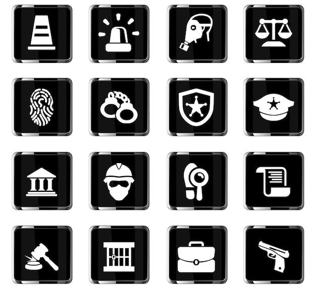 Icone vettoriali di polizia per il design dell'interfaccia utente Vettore Premium