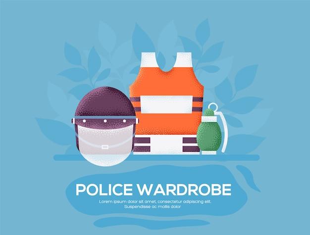 Volantino del guardaroba della polizia, riviste, poster, copertina di libro, striscioni. .