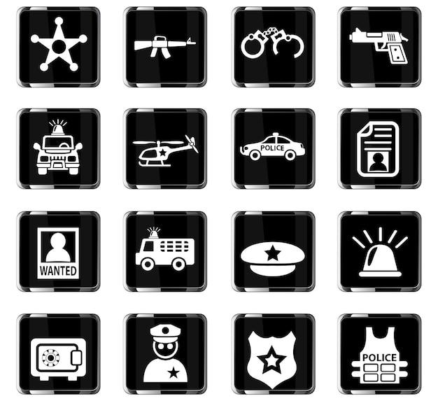 Icone web della polizia per il design dell'interfaccia utente