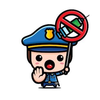 Polizia con segnale di stop alla droga