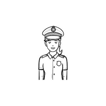 Icona di doodle di contorni disegnati a mano della donna della polizia. ufficiale di polizia femminile in uniforme come autorità e concetto di pattuglia