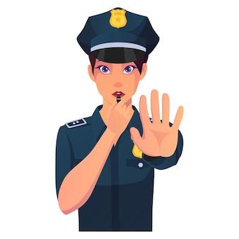 Segnale di stop della donna della polizia con l'illustrazione del fischio