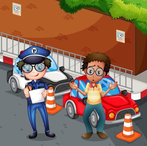 Poliziotto sul luogo dell'incidente