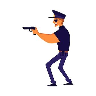 Un poliziotto che mira con un'illustrazione del fumetto della pistola su fondo bianco. agente di polizia, sicurezza professionale e personaggio di guardia per app e giochi.