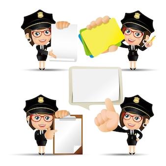 Personaggi di poliziotto in diverse pose