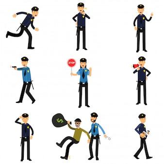 Personaggi di poliziotto sul set di lavoro, poliziotti che fanno il loro lavoro