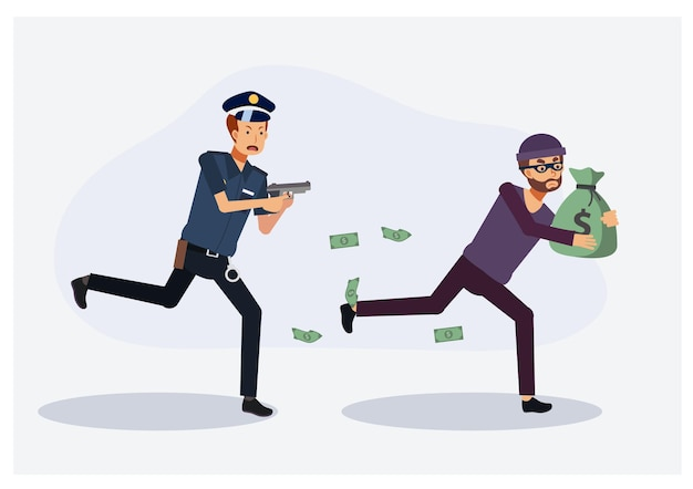 Poliziotto che insegue un ladro.