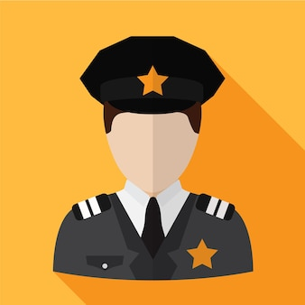 Simbolo del segno di vettore isolato illustrazione piana dell'icona del poliziotto