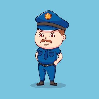 Poliziotto nella sua uniforme blu Vettore Premium