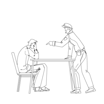 Poliziotto interrogatorio prigioniero criminale