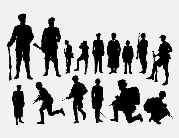 Siluetta di professione di persone di militari e poliziotti