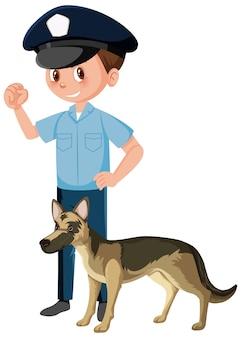 Ufficiale di poliziotto con cane poliziotto pastore tedesco su sfondo bianco